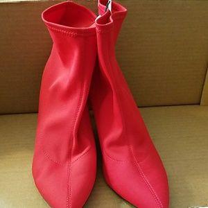 Women's Heeled Sock Bootie- Red